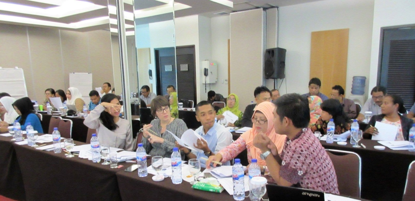 Trainees debating application of RECP for water management in hotels. Tangerang, 6-7 September 2016.