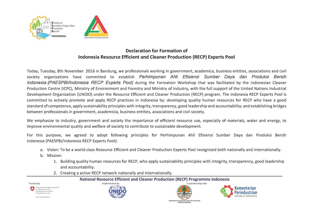 The declaration for formation of Indonesia RECP Experts Pool (1)