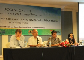 BP Batam as local partner and stakeholder in Batam Island gave opening remarks at RECP Workshop held in December 2015. Seen in the picture are (left to right) Chief Technical Advisor Rene Van Berkel, Ph.D., Head of Programme Development BP Batam Binsar Tambunan, Head of CRECPI ITB Prof. Tjandra Setiadi, and Deputy Head of CRECPI ITB Puji Lestari, Ph.D.